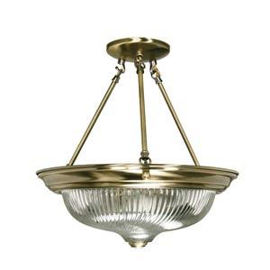 Antique Brass Semi-Flush Ceiling Light