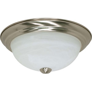 Brushed Nickel Two-Light Energy Star 11-Inch Flush Fixture w/Alabaster Glass