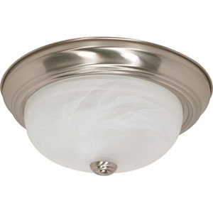 Brushed Nickel Two-Light Energy Star 13-Inch Flush Fixture w/Alabaster Glass