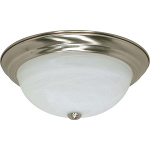 Brushed Nickel Three-Light Energy Star 15-Inch Flush Fixture w/Alabaster Glass