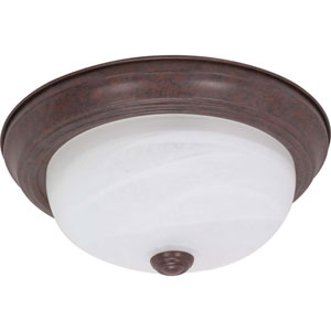 Old Bronze Two-Light Energy Star 11-Inch Flush Fixture w/Alabaster Glass