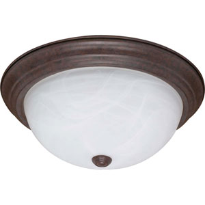Old Bronze Three-Light Energy Star 11-Inch Flush Fixture w/Alabaster Glass