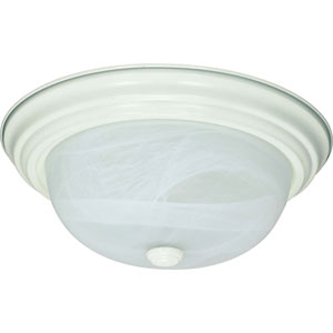 Textured White Two-Light Energy Star 11-Inch Flush Fixture w/Alabaster Glass