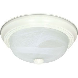 Textured White Three-Light Energy Star 11-Inch Flush Fixture w/Alabaster Glass
