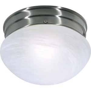 Brushed Nickel Energy Star Small Mushroom Ceiling Light w/Alabaster Glass