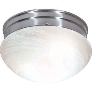 Brushed Nickel Two-Light Energy Star Medium Mushroom Ceiling Light w/Alabaster Glass