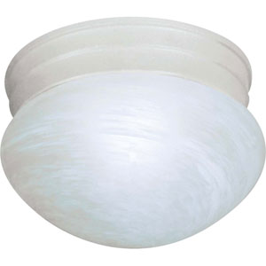 Textured White Energy Star Small Mushroom Ceiling Light w/Alabaster Glass