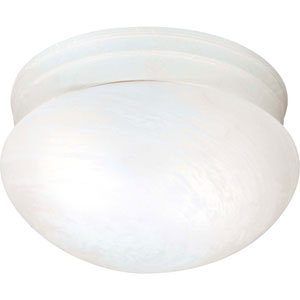 Textured White Two-Light Energy Star Medium Mushroom Ceiling Light w/Alabaster Glass