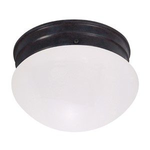 Mahogany Bronze One-Light 8-Inch Wide Fluorescent Flush Mount with Frosted Mushroom Glass