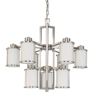 Odeon Brushed Nickel Nine-Light Chandelier