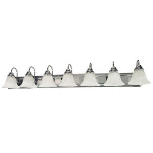 Ballerina Polished Chrome Seven-Light Bath Fixture with Alabaster Glass
