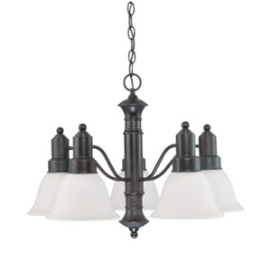 Gotham Mahogany Bronze Five-Light Chandelier with Frosted White Glass