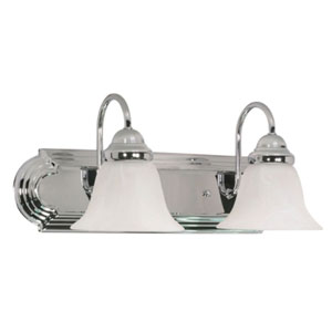 Ballerina Polished Chrome Two-Light Bath Fixture with Alabaster Glass