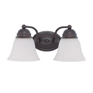 Empire Mahogany Bronze Two-Light Bath Fixture with Frosted White Glass