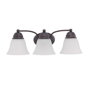 Empire Mahogany Bronze Three-Light Bath Fixture with Frosted White Glass