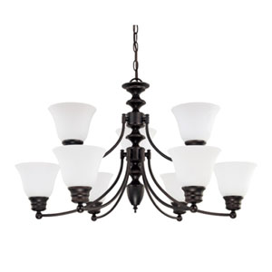 Empire Mahogany Bronze Nine-Light Chandelier with Frosted White Glass