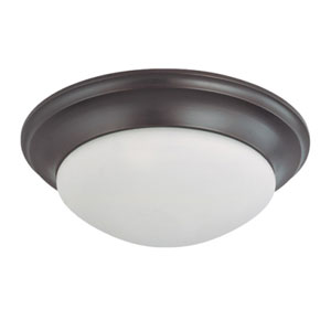 Mahogany Bronze Three-Light Flush Mount with Frosted White Glass