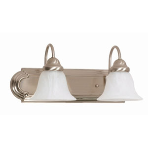 Ballerina Brushed Nickel Two-Light Bath Fixture with Alabaster Glass
