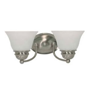 Empire Brushed Nickel Two-Light Energy Star Bath Fixture with Alabaster Glass