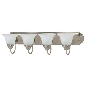 Ballerina Brushed Nickel Four-Light Energy Star Bath Fixture with Alabaster Glass