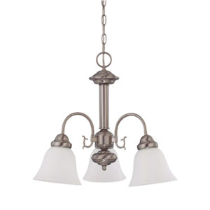 Ballerina Brushed Nickel Three-Light Chandelier with Frosted White Glass