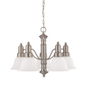 Gotham Brushed Nickel Five-Light Chandelier with Frosted White Glass