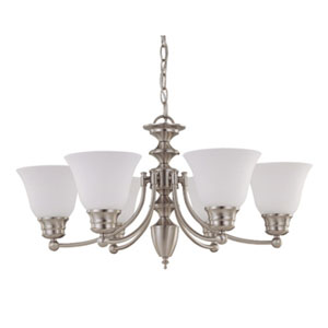 Empire Brushed Nickel Six-Light Chandelier with Frosted White Glass