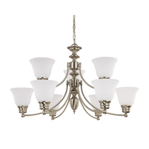 Empire Brushed Nickel Nine-Light Chandelier with Frosted White Glass