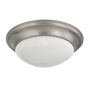 Brushed Nickel Three-Light Flush Mount with Frosted White Glass