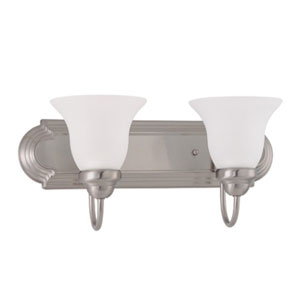 Ballerina Brushed Nickel Two-Light Bath Fixture with Frosted White Glass