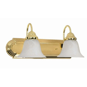 Ballerina Polished Brass Two-Light Bath Fixture with Alabaster Glass