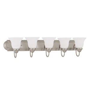 Ballerina Brushed Nickel Five-Light Bath Fixture with Frosted White Glass