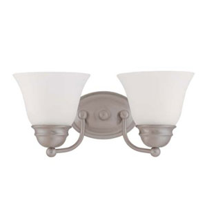 Empire Brushed Nickel Two-Light Energy Star Bath Fixture with Frosted White Glass