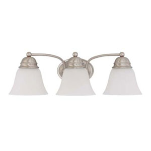 Empire Brushed Nickel Three-Light Energy Star Bath Fixture with Frosted White Glass