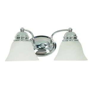 Empire Polished Chrome Two-Light Bath Fixture with Alabaster Glass