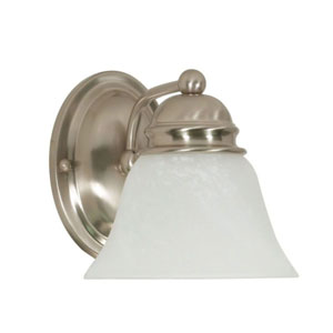 Empire Brushed Nickel One-Light Bath Fixture with Alabaster Glass