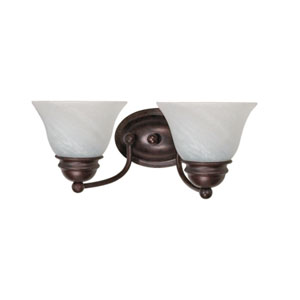 Empire Old Bronze Two-Light Bath Fixture with Alabaster Glass