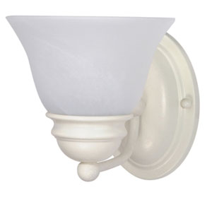 Empire Textured White One-Light Bath Fixture with Alabaster Glass