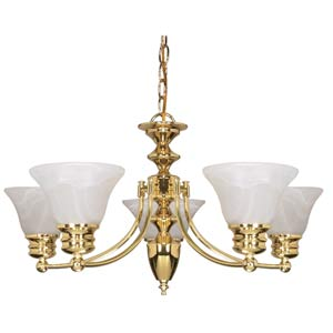 Empire Polished Brass Six-Light Chandelier