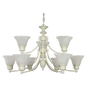 Empire Textured White Nine-Light Chandelier