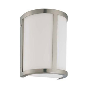 Odeon Brushed Nickel One-Light Energy Star Bath Fixture with Satin White Glass