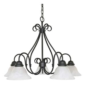 Castillo Textured Flat Black Five-Downlight Chandelier