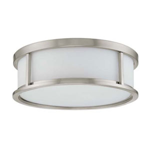 Odeon Brushed Nickel Three-Light Energy Star Flush Mount with Satin White Glass