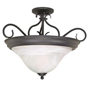 Castillo Textured Flat Black Semi-Flush Ceiling Light