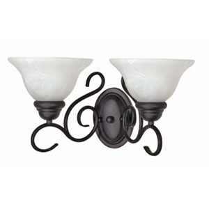 Castillo Textured Black Two-Light Bath Fixture with Alabaster Swirl Glass