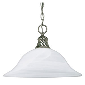 Brushed Nickel One-Light Pendant with Alabaster Glass