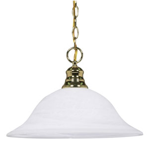 Polished Brass One-Light Pendant with Alabaster Glass