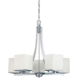 Bento Polished Chrome Five-Light Chandelier with Satin White Glass