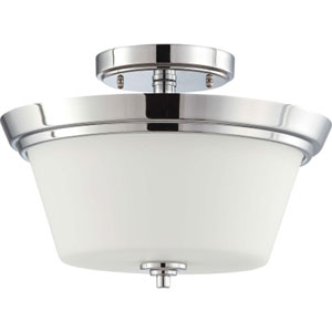 Bento Polished Chrome Two-Light Semi Flush Mount with Satin White Glass