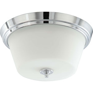 Bento Polished Chrome Two-Light Flush Mount with Satin White Glass